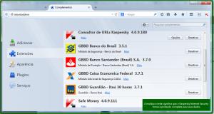 Extensões do Firefox: Guardiões de bancos e ferramentas de proteção da Kaspersky.