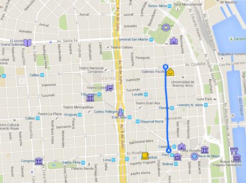 Mapa de Buenos Aires com foco na região central