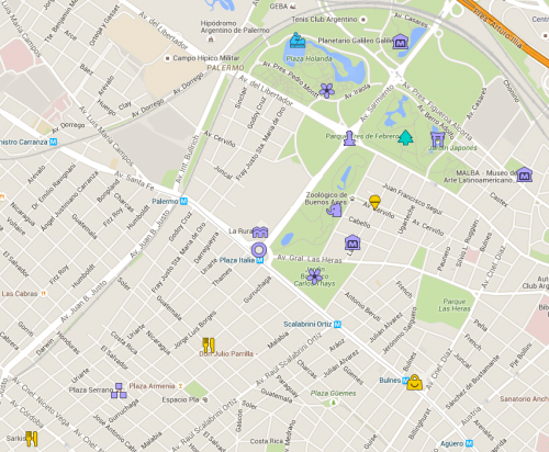 Mapa de Buenos Aires com foco em Palermo
