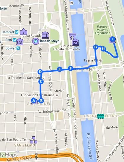 Mapa de Buenos Aires com foco em San Telmo e Puerto Madero