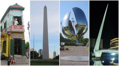 Fotomontagem - Caminito, Obelisco, Floralis Generica, Puente de la Mujer