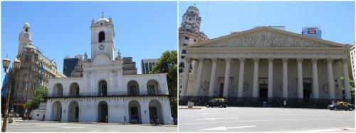Foto montagem Cabildo e Catedral Metropolitana de Buenos Aires