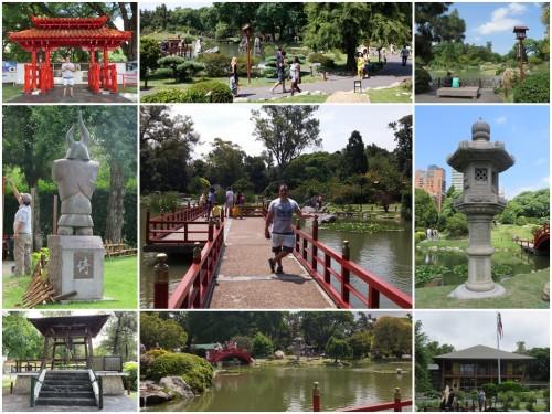 Foto montagem com destaques do Jardim Japonês.