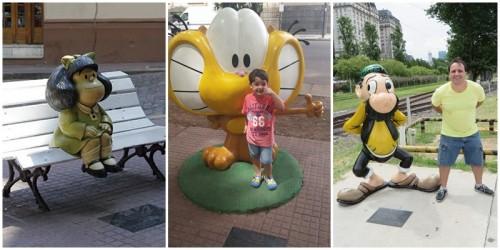 Foto montagem de Paseo de la Historieta: Mafalda, Gaturro, Don Nicola