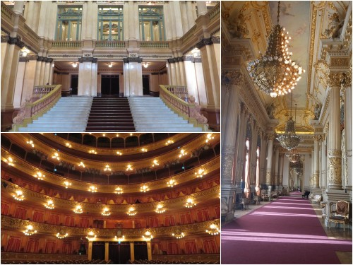 Montagem de três fotos do Teatro Colón: escadaria, platéia e corredores.