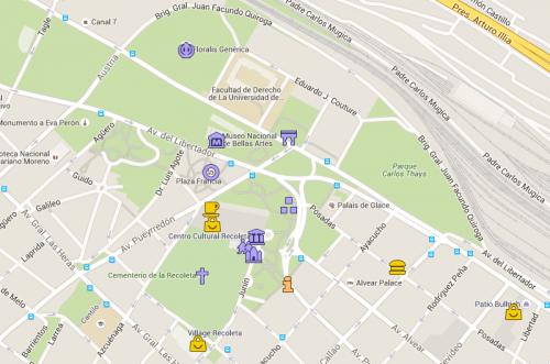 Mapa de Buenos Aires com foco em Recoleta