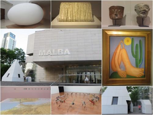 Foto montagem de panorama do MALBA e detalhes de obras expostas.