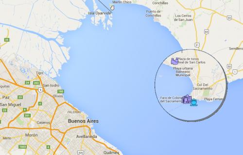 Mapa de Buenos Aires a Colonia del Sacramento (em zoom)