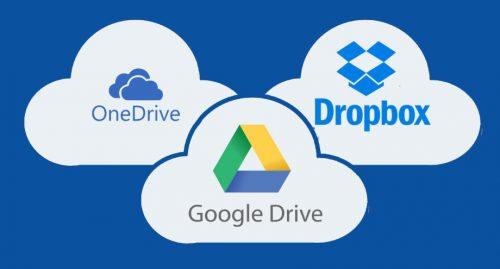 OneDrive, Google Drive, Dropbox